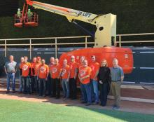 "The Minnesota Twins maintenance crew was named the first winner of the JLG ""Crews Across America"" sweepstakes."