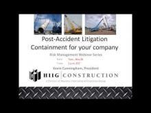 Risk Management Webinar: Post Crane Accident Litigation Containment